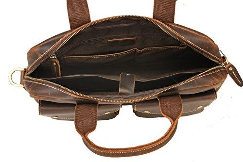 bupell Aktentasche XL - Leder Laptoptasche mit viel Stauraum Aktentasche L