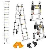 Finether 5M Escalera Telescópica de Aluminio Escalera Plegable Multifuncional...