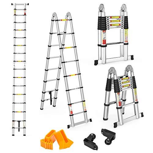 Finether 5M Escalera Telescópica de Aluminio Escalera Plegable Multifuncional Portátil Escalera Extensible...