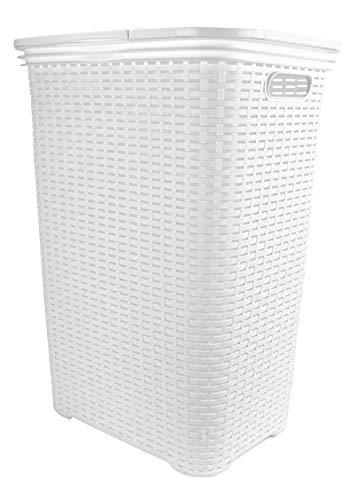 Wäschekorb Flechtoptik Rattanoptik Wäschebox Wäschetonne Wäschetruhe Wäschesammler Plastik mit Deckel eckig weiß 65 L