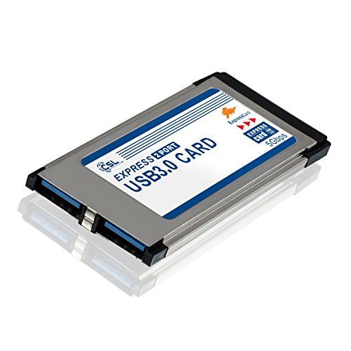 CSL - USB 3.0 Tarjeta PCMCIA Express Card Super Speed (34 mm) / 2 Puertos/Compatible con Windows 10 para Notebook y Laptop