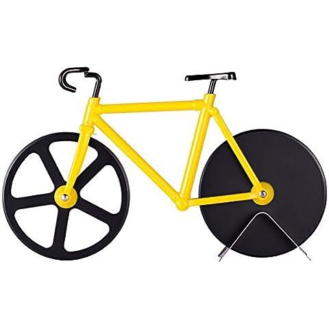 topbest creativo cortador de pizza bicicleta diseñar Acero Inoxidable Antiadherente con doble Ruedas de corte de Sharp Black Blade–Soporte Decoración de
