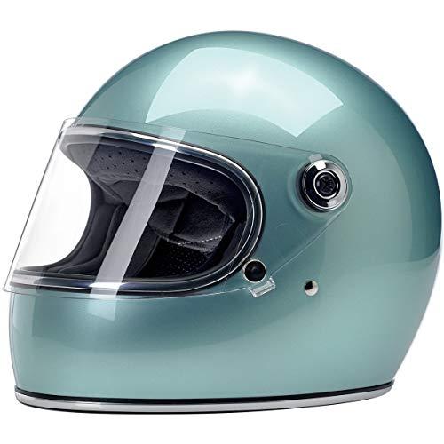 Casco Integral Biltwell Gringo S Metallic Sea Foam homologado Doble homologación ECE (Europa) & Dot (America) Helmet Biker Custom Vintage Retro Año 70 Talla XS