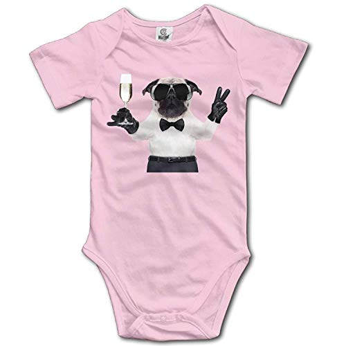 Unisex Baby's Climbing Clothes Set A Dog with A Cup Bodysuits Romper Short Sleeved Light Onesies for 0-24 Months,6M
