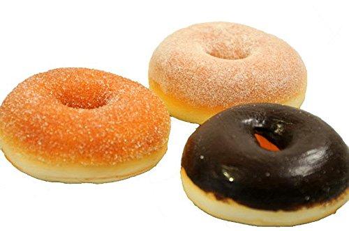 Handgemachte & Realistische Lebensmittel Attrappe - 3 Donuts/Bagels - Durchmesser: 9cm / Höhe: 3,5cm