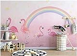 Speedcoming Papier Peint de Chambre d'enfant Flamant Rose Peint à la Main, Princesse, Fond Rose, Peinture Murale, Papier peint-250x175cm