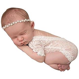 Amcool Neugeborenes Baby Mädchen Fotografie Prop Spitze Strampler Overall Prinzessin Onesie (Weiß)