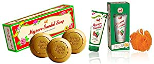 Mysore Sandal Soap,450g (150x3) (Pack Of 3) And Mysore Sandal Body Wash, 200 ml with Free Loofah