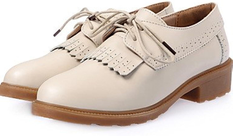 NJX/ hug Zapatos de mujer-Tacón Bajo-Comfort-Oxfords-Casual-Cuero-Negro / Marrón / Beige , brown-us8.5 / eu39...