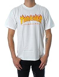 Thrasher Flame White–Camiseta blanco Large