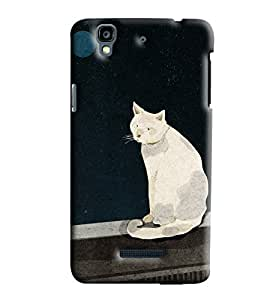 Blue Throat White Cat Pattern Hard Plastic Printed Back Cover/Case For Micromax Yu Yureka
