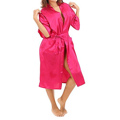 UTOVME Donna Pigiama Kimono Semplice Raso Yukata Camincia da notte per lo spa, Festa Compleanno Matrimonio Rosso rosa