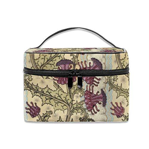 Kosmetiktasche, Make-up Tasche, Art Nouveau Purple Thistle Flower Portable Travel Makeup Bag Cosmetic Organizer Tote Bag for Women Girls Purple Thistle