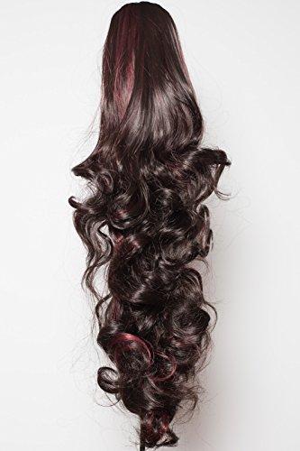 Elegant Hair - 56 cm / 22 pouces queue de cheval boucles toumbants – Brun le plus foncé/mèches rouge - Clip-in pièce de extensions de cheveux réversible - Avec griffe-clip - 30 Couleurs - 250g