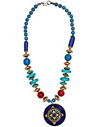 Purpledip Necklace Chain With Glass Beads & Blue Mosaic Work Brass Pendant; Unqiue Traditional Design (30076)