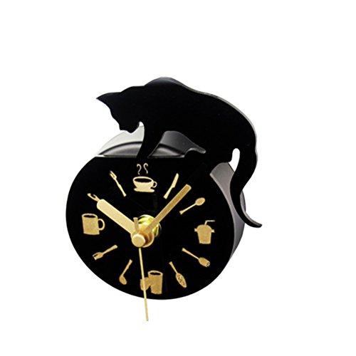 WINOMO Magnetische Kühlschrank Uhr Kühlschrankmagnete Aufkleber Runde Katze Muster Wanduhr Nachricht Aufkleber