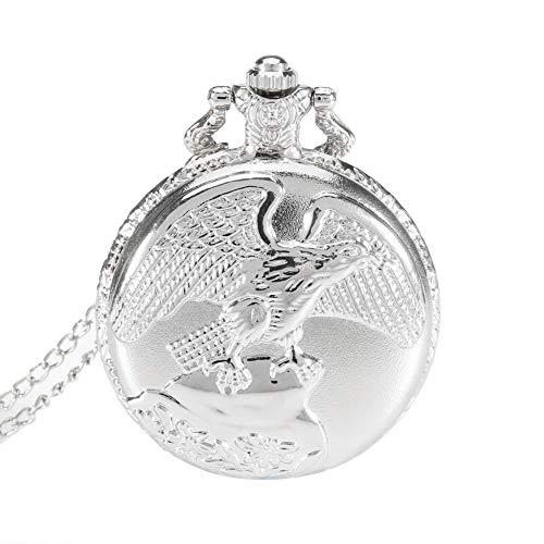 Drawoz Vintage Schmuck Antik Adler Flügel Quarz Taschenuhr Halskette Anhänger Kette Uhr Geschenk - Silbern (Taschenuhr Halskette Flügel)