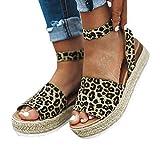 Sandalias para Mujer Verano 2019 Plataforma Cuña PAOLIAN Sandalias Esparto Playa Tacon Medio Grueso Casual Fiesta Zapatos Alpargatas Vestir Elegantes Tallas Grandes