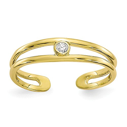 2bis 4mm 10K Zirkonia Zehenring-Höhere Gold Goldgrad als 9Karat Gold (10k Birthstone Ring)