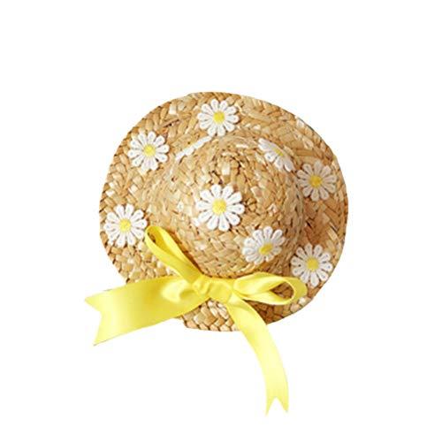 Floral Straw Hat (POPETPOP Hund Strohhut Pet Floral Strohhut Hund Sonnenhut Cute Handcrafted Woven Strohhut für kleine Hunde Welpen Katzen)