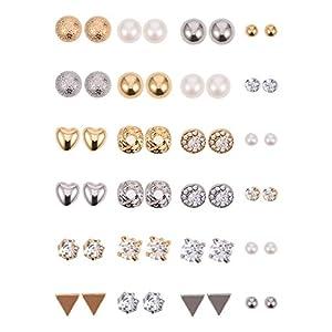 BBTO 24 Paar Ohrstecker Kristall Perle Ohrringe Set Ohrstecker Schmuck für Mädchen Damen Männer, Silber und Gold