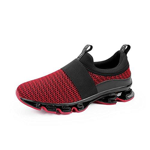 Dannto Herren Sportschuhe Laufschuhe Damen Turnschuhe Freizeitschuhe für Männer Mode Atmungsaktive Trainers Profilsohle Anti-Rutsche Lace-Up Männliche Schuhe Super Licht Sneaker(rot,43) -