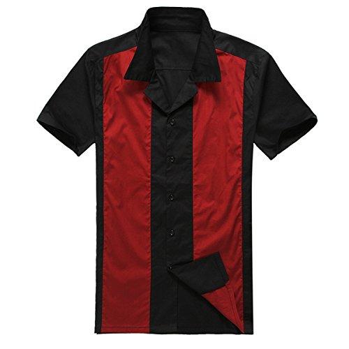 Candow Look moda para hombre casual camisas de vestido cowboy Rojo manga corta vendimia (XXX-Large)