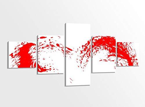 Leinwandbild 5 tlg 200x100cm Herz srot Tinte Klekse abstrakte Kunst Liebe Schlafzimmer Bilder Druck auf Leinwand Bild mehrteilig Holz fertig gerahmt 9AB2691
