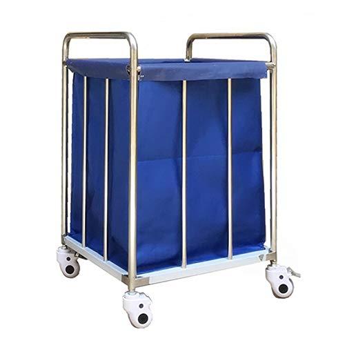 Hotel Wäschewagen Hochleistungshotel-Wäscherei-Leinen-Wagen auf Rädern, Blauer rollender Wäscherei-Sortierer-Wagen for Lobby-Schlafzimmer-Badezimmer, entfernbarer Bezug -