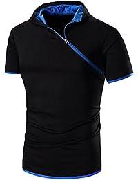 ZhiYuanAN Hommes Polo T-Shirt Imprimé À Manches Courtes Chemise Polo De Impression Papillon De Mode Mince Fit Casual Tee Shirt Tops Noir M