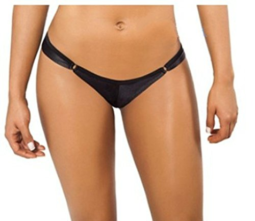 CHICTRY Damen Hotpants Bikini Slip Shorts Micro Strings Schwarz Reizwäsche Erotik Dessous Unterwäsche M L XL A Schwarz One Size