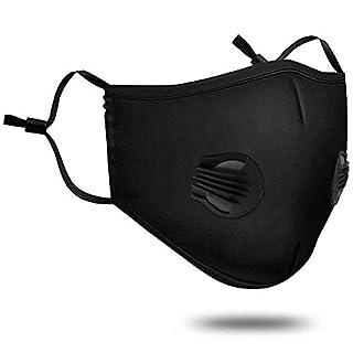 Verschmutzung Maske mit Ventil waschbar Staub Atemschutzmaske aus Baumwolle Mund Masken mit austauschbaren 5-Schicht-Filter für Männer Frauen (Maske + 2 Filter + 2 Ventil) (Schwarz)