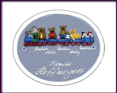 Keramik Schild Türschild + Gravur 28x24cm Keramikschild mit Teddy Motiven