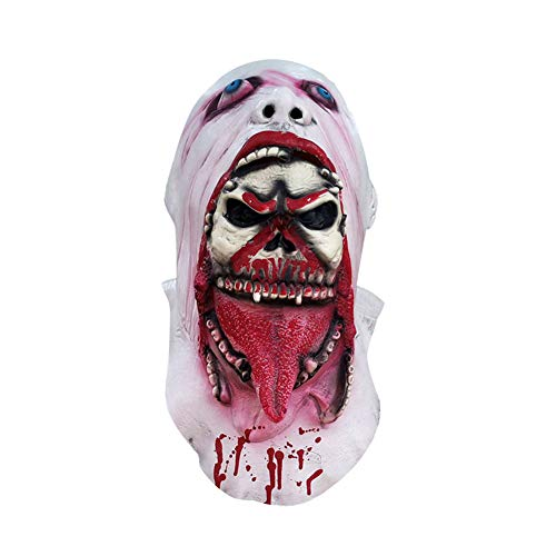 ybbghio Schmelzendes Gesicht Latex Adult Bloody Design Zombie Form Maske, Halloween Kostüm Scary Cosplay Requisiten White