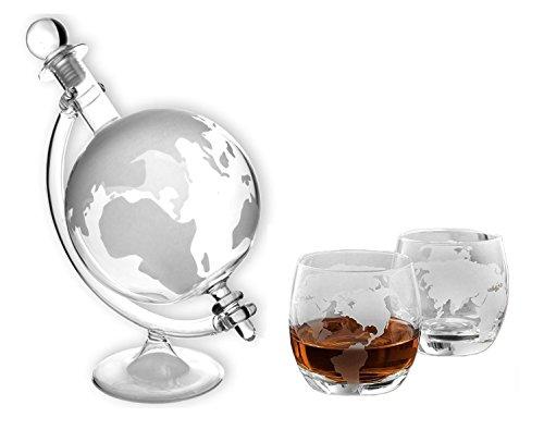 Möbel & Wohnen Kochen & Genießen WunderschöNen Whisky-karaffe 750 Ml Und 2 Gläser Schnaps Wein Glas-behälter Flasche Globus Neu