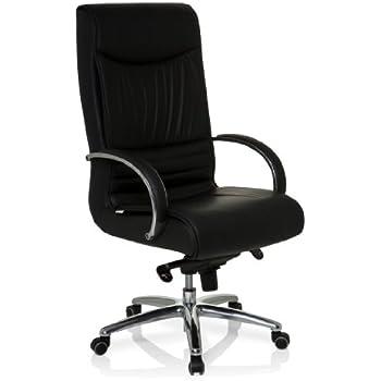 hjh OFFICE 600953 Bürostuhl Chefsessel XXL F 400 Leder schwarz, bequeme dicke Polsterung, ideal für das Büro oder Home Office, Drehstuhl, Bürostuhl Sessel, Chefsessel ergonomisch, 150Kg