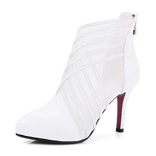 W&LM Signorina Tacchi alti sandali vera pelle sandali Trasparente Sandali di filati netti Chiusura lampo dopo Tacchi alti White