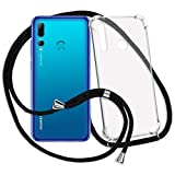 mtb more energy® Handykette für Huawei P Smart Plus 2019 (6.21'') | schwarz | Smartphone Hülle zum Umhängen | Anti Shock Strong TPU Case