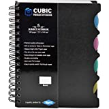 Cubic A5 Size 5-Sub Wiro Notebook, 300 Pages (Black)
