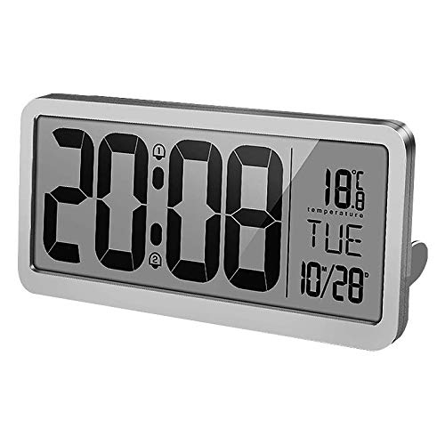yzdhha Großbildfern-wecker LCD Elektronische Uhr Digitale Wohnung Schlafzimmer Stumme Wohnzimmer Musik Tischuhr 35,6 cm Silber (China Zeitzonen)
