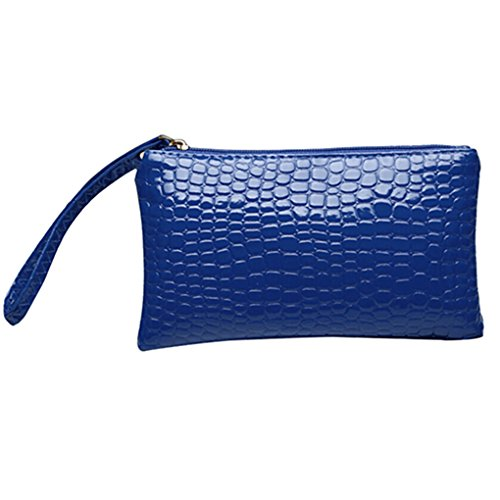 Gemini _ Mall® da donna in finta pelle borsa frizione portafoglio con rigido compatibile con iPhone 6/7 Plus Blue