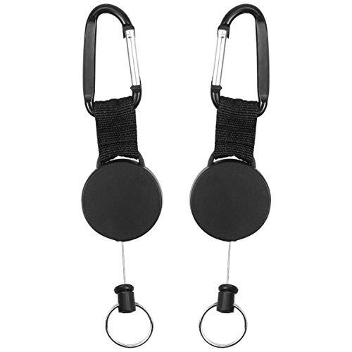 Dokpav 2 Stücke 68 cm Retractable Schlüsselanhänger Ausziehbar Key Schlüsselband Heavy Duty Einziehbare Schlüsselkette Schlüsselrolle, mit Extra Starker Feder und Reißfester Schnur, Schwarz