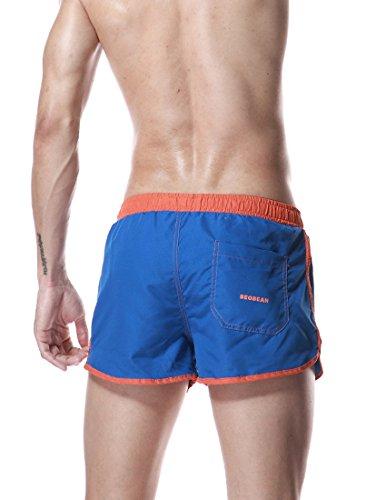 Honeystore Herren Badeshorts Freizeit Kurz Shorts Einfarbig Schnell Trocknend Casual Strand-Shorts Blau