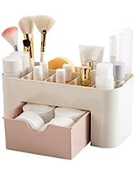 Bonjouree Tiroir de Rangement Bureau Maquillage Cosmétique Supports Boîte économiser de l'espace (Rose)