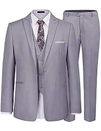 iClosam Costume Trois-pièces Veste +Gilet +Pantalon Slim Fit Formel  Classique Bussiness Mariage 3207912e370
