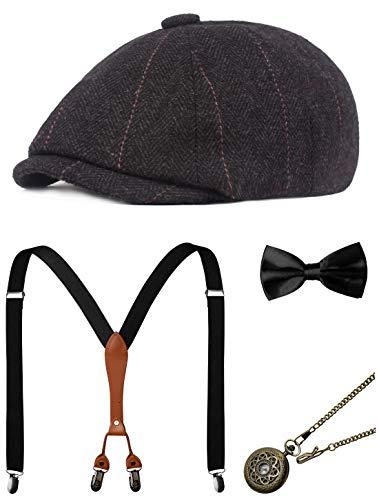 Zivyes 1920s Herren Accessoires Gatsby Gangster Kostüm Zubehör Set Manhattan Fedora Hut Hosenträger Fliege Taschenuhr - 1920 Gangster Kostüm