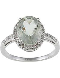 10 K oro blanco Oval amatista verde y anillo de diamante (1/10 TDW)