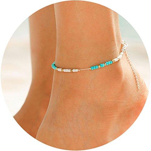 Simsly, Fußkettchen mit blauen Perlen, Boho-Schmuck für Frauen -