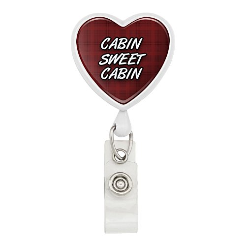 Kabine Sweet Kabine rot kariert Herz Lanyard Retractable Reel Badge ID Karte Halter–Weiß (Angeln Im Fluss Karte)