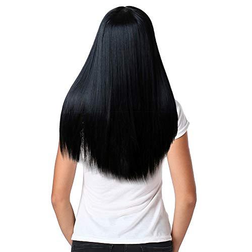 Luckhome Perücke Lange, Seidige Gerade Synthetische Lace Front Haar Der Frauen Lange Haar-Volle Perücken Cosplay Natürliche Haar-Perücke Rose Haarnetz Schwarze Glatte Haarperücke(C)
